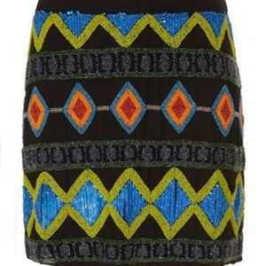 Topshop Premium Aztec Beaded Skirt